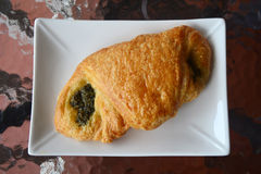 Croissant with spinash Royalty Free Stock Photos