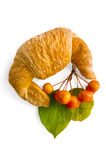 Croissant with a sprig of apple Royalty Free Stock Photos