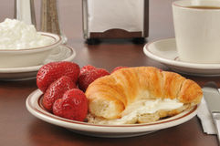 Croissant with strawberries and cream cheese Royalty Free Stock Photography
