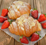 Croissant with strawberry Stock Photo