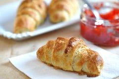 Croissant with Strawberry Jam Stock Photo