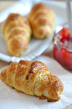 Croissant with Strawberry Jam. Homemade Croissant with Strawberry Jam royalty free stock photo