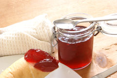 Croissant with strawberry jam for breakfast Royalty Free Stock Photography