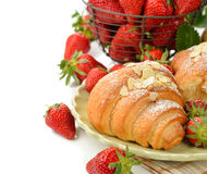 Croissant with strawberry Stock Image