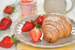 Croissant with strawberry Royalty Free Stock Image