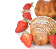 Croissant with strawberry Royalty Free Stock Photography