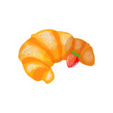 Croissant with Strawberry on a white background. Vector illustration of baking. Isolated vector illustration on white background Stock Photos