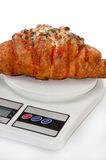 Croissant stuffed with pizza on the kitchen scale Royalty Free Stock Photo