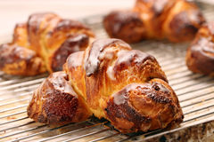 Croissant stuffed with poppy seeds Stock Image