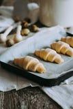 Croissant su uno strato di cottura Fotografia Stock