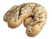 Croissant with sunflower seeds on a white background Royalty Free Stock Photo