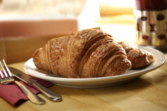 Croissant and tea Stock Photos