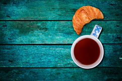 Croissant with the tea Royalty Free Stock Photo