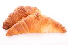 Croissant. Two fresh croissant on white Stock Photos