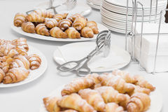 Croissant and utensils Stock Photos
