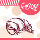 Croissant vector card. Hand-drawn poster with calligraphic element.  Stock Photo