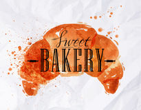 Croissant watercolor poster Royalty Free Stock Photos