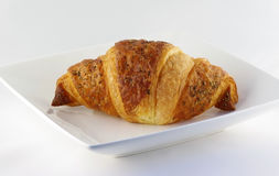 Croissant on a white plate Royalty Free Stock Images