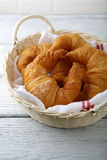 Croissant in a wicker basket Royalty Free Stock Photography