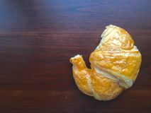 Croissant. Croissant on wood table Royalty Free Stock Photos