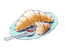 Croissant z śmietanką i dżemem royalty ilustracja