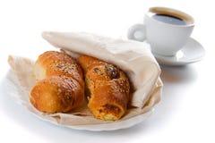 Croissanten en koffie Stock Foto's