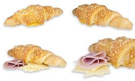 Croissanten met ham en kaas Royalty-vrije Stock Afbeeldingen
