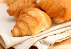 Croissants. Fresh croissants, healthy breakfast background Royalty Free Stock Photography