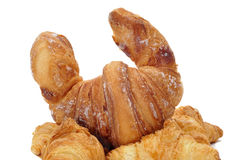 Croissants. Closeup of some croissants isolated on a white background Royalty Free Stock Photos