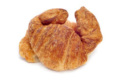Croissants. Closeup of some croissants on a white background stock images