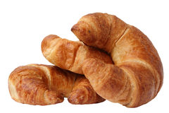 Croissants. Three croissants isolated on white background Royalty Free Stock Photos