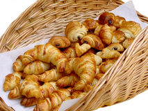 Croissants. Basket with croissants Royalty Free Stock Photos