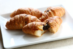 Croissants. Chocolate on white dish Stock Photo