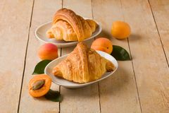 Croissants with apricot marmalade Stock Photography