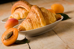 Croissants with apricot marmalade Stock Photo