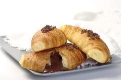 Croissants avec du chocolat Photographie stock libre de droits