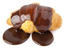Croissants avec du chocolat Photos stock
