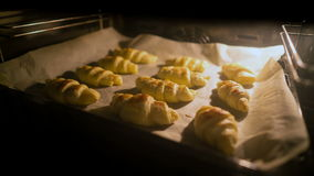 Croissants are baked in the oven. stock footage