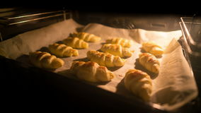 Croissants are baked in the oven. Time lapse stock footage