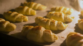 Croissants are baked in the oven. Croissants are baked in the oven, time lapse stock video footage