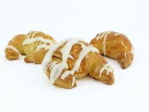 Croissants. Baked croissants on white background Stock Photos
