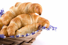 Croissants In A Basket Stock Images