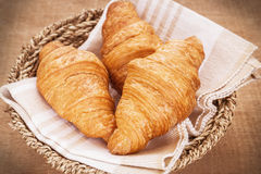 Croissants in basket, filtered image Stock Photography