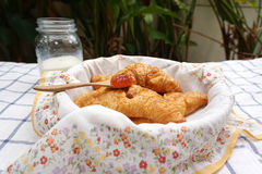 Croissants in the basket with flower pattern napkin Royalty Free Stock Photography