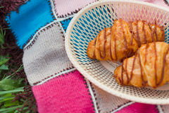 Croissants in a basket Royalty Free Stock Image