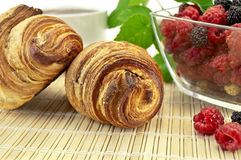 Croissants with berries Royalty Free Stock Image