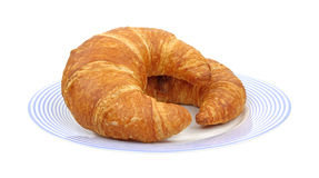 Croissants on blue plate Royalty Free Stock Image