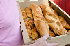 Croissants. Box of bread and croissants from French bakery Royalty Free Stock Image