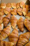 Croissants. Box of bread and croissants from French bakery Royalty Free Stock Images