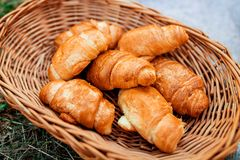 Croissants. Breakfast in bed and outdoors stock photography